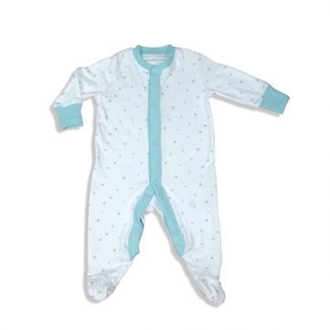 Babies sleep suit with blue trim
