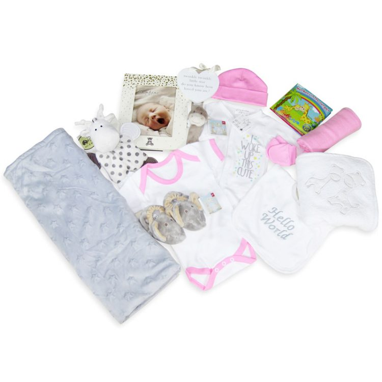 Luxury Baby girl gift hamper layout