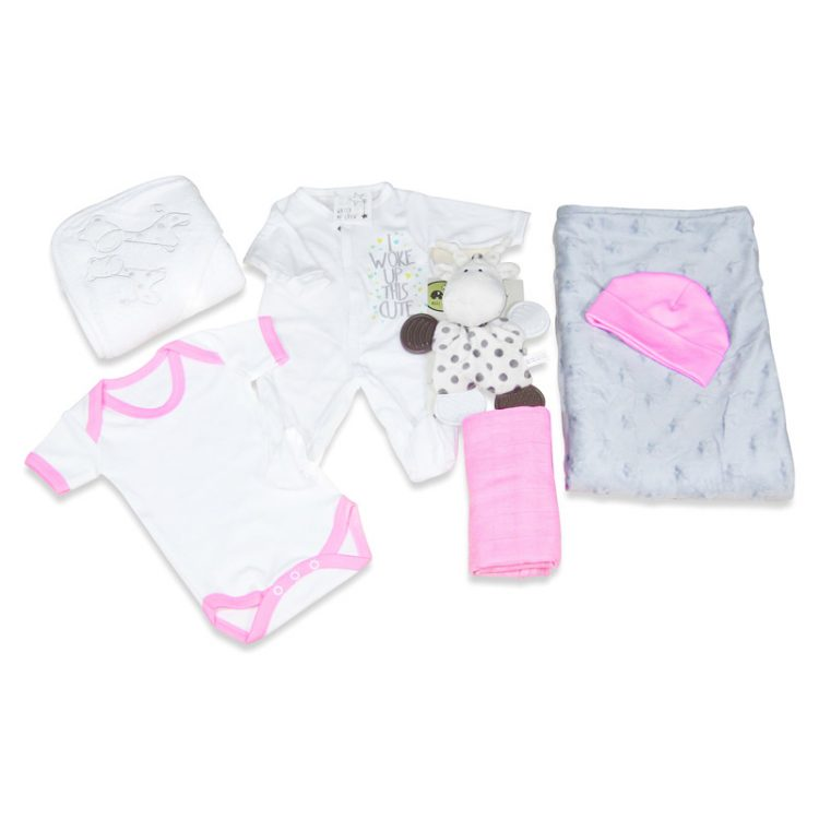 Premium Baby girl gift hamper layout